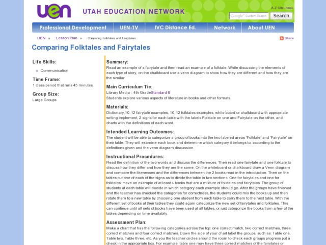 Comparing Folk Tales and Fairy Tales Lesson Plan