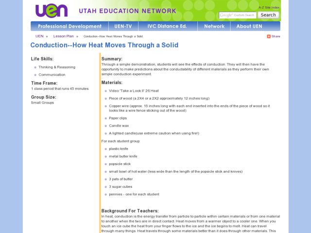 Conduction: How Heat Moves Through a Solid Lesson Plan
