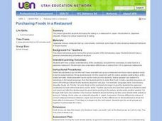 Purchasing Foods in a Restaurant Lesson Plan