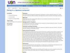 Eating in a Japanese restaurant Lesson Plan