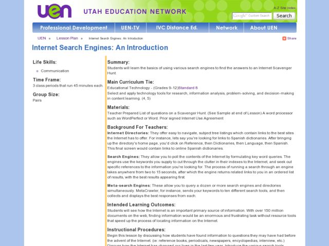 Internet Search Engines: An Introduction Lesson Plan