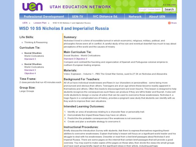 Nicholas II and Imperialist Russia Lesson Plan