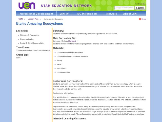 Utah's Amazing Ecosystems Lesson Plan