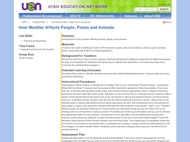 How Weather Affects People, Plants and Animals Lesson Plan