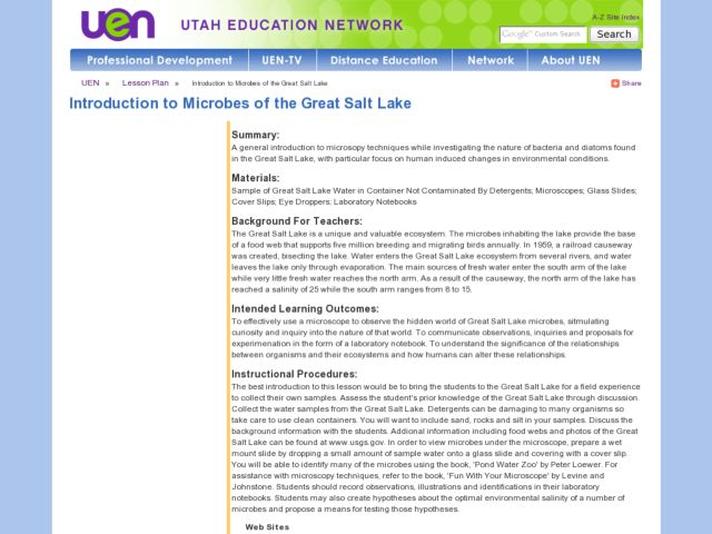 Introduction to Microbes of the Great Salt Lake Lesson Plan