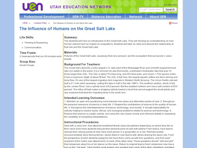 The Influence of Humans on the Great Salt Lake Lesson Plan