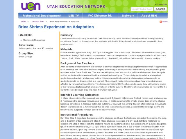 Brine Shrimp Experiment on Adaptation Lesson Plan