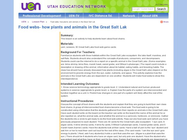 Food Webs - How Plants and Animals in the Great Salt Lake Lesson Plan