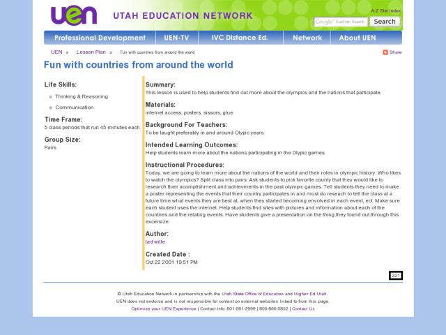 Fun With Countries From Around the World Lesson Plan