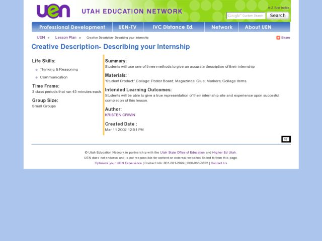 Creative Description- Describing your Internship Lesson Plan