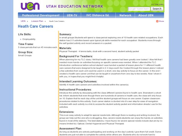 Heath Care Careers Lesson Plan