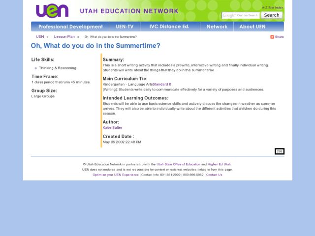 Oh, What Do You Do in the Summertime? Lesson Plan