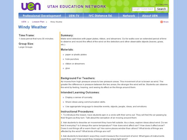 Windy Weather Lesson Plan