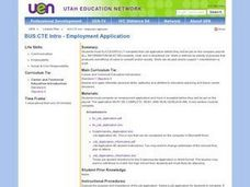 BUS: TLC Employment Application Lesson Plan