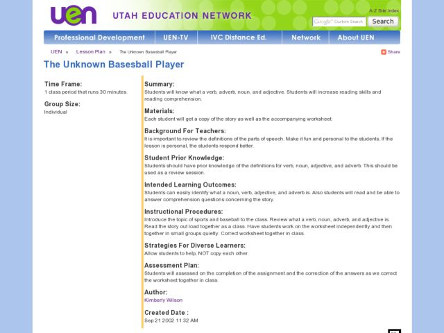 The Unknown Baseball Player Lesson Plan