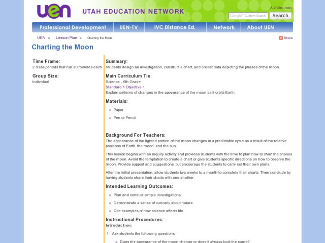 Charting the Moon Lesson Plan