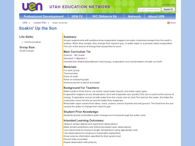 Soakin' Up the Sun Lesson Plan