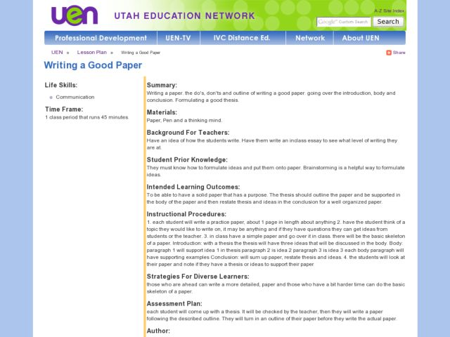 Writing a Good Paper Lesson Plan