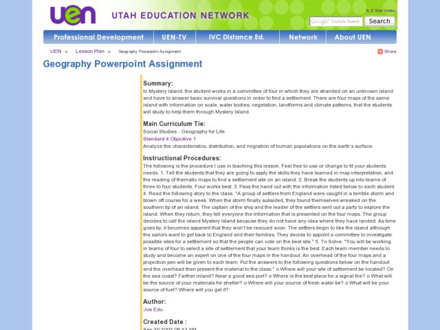 Geography Powerpoint Assignment Lesson Plan