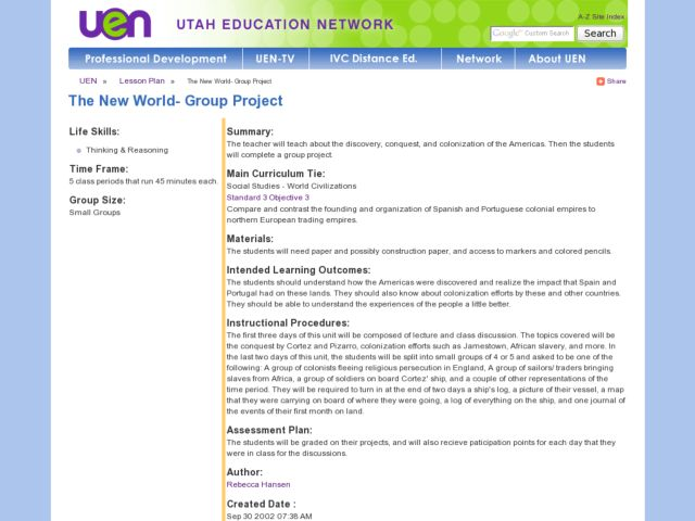 The New World- Group Project Lesson Plan