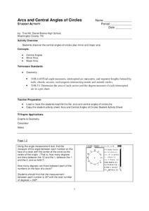 ARcs and Central Angles of Circles Lesson Plan
