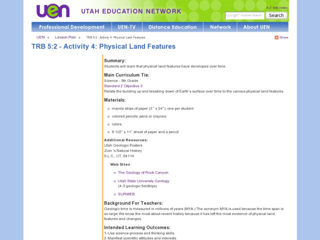 Physical Land Features Lesson Plan
