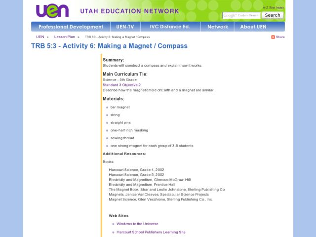 Making a Magnet / Compass Lesson Plan for 5th Grade | Lesson