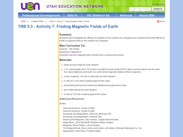 Finding Magnetic Fields of Earth Lesson Plan