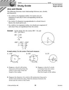 Arcs and Chords Worksheet