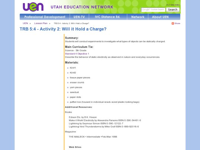 Will it Hold A Charge? Lesson Plan
