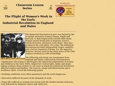 The Plight of Women's Work in the Early  Industrial Revolution in England and Wales Lesson Plan