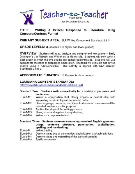 literary response essay - Response To Literature Essay Format