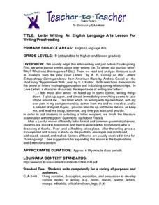 Letter Writing: An English Language Arts Lesson For Writing/Proofreading Lesson Plan