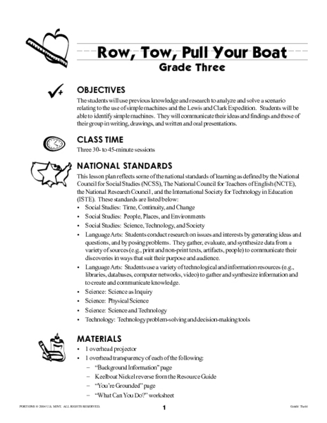Row, Tow, Pull Your Boat Lesson Plan