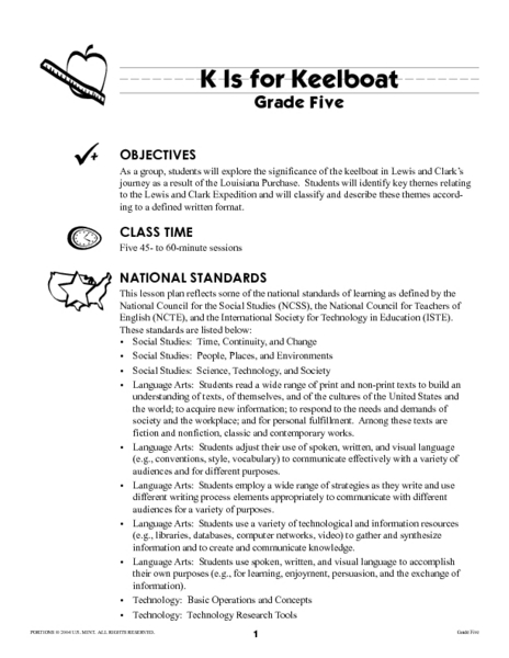 K Is for Keelboat Lesson Plan