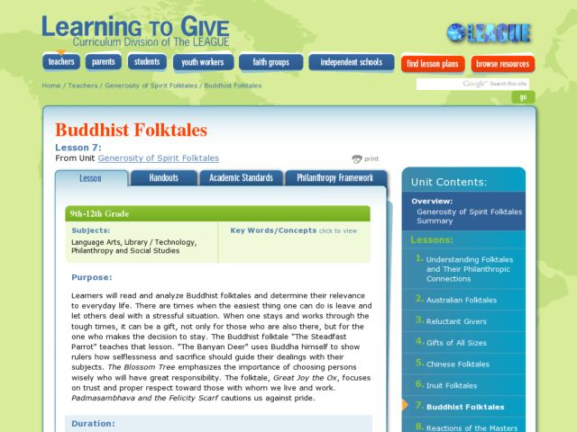 Buddhist Folktales Lesson Plan