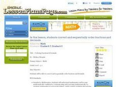 Ordering Fractions & Decimals Lesson Plan