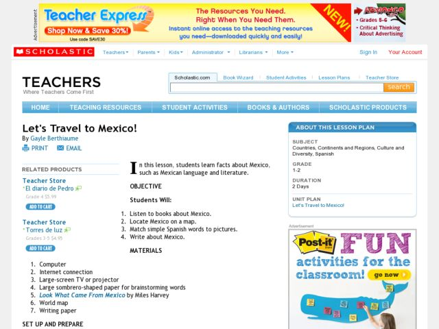 Let's Travel to Mexico! Lesson Plan