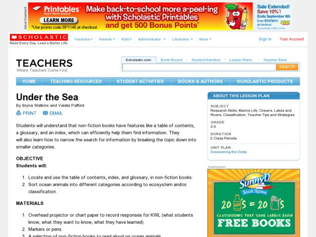 Under the Sea - KWL Chart Lesson Plan