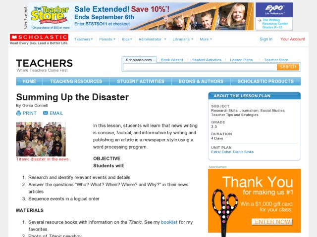 Summing the Disaster Lesson Plan