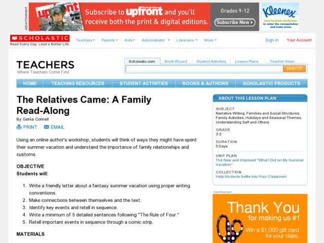 The Relatives Came Family Read-Along Lesson Plan