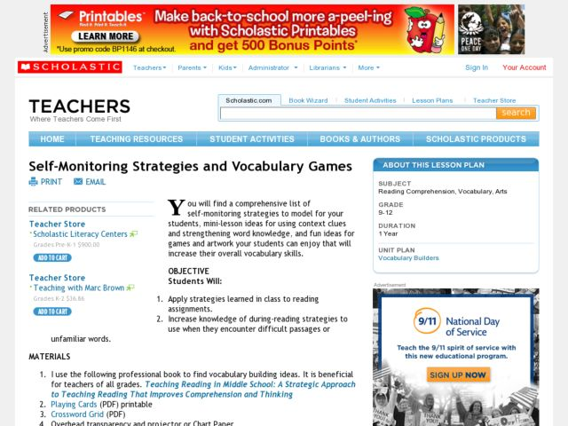 Self-Monitoring Strategies and Vocabulary Games Lesson Plan