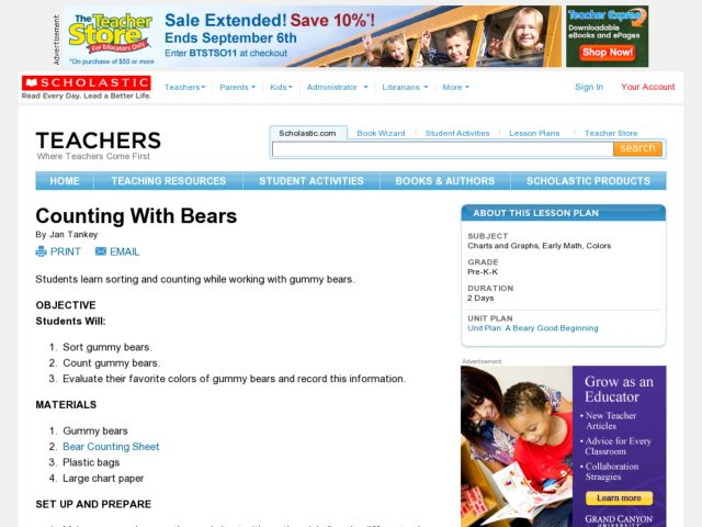 Counting With Bears Lesson Plan