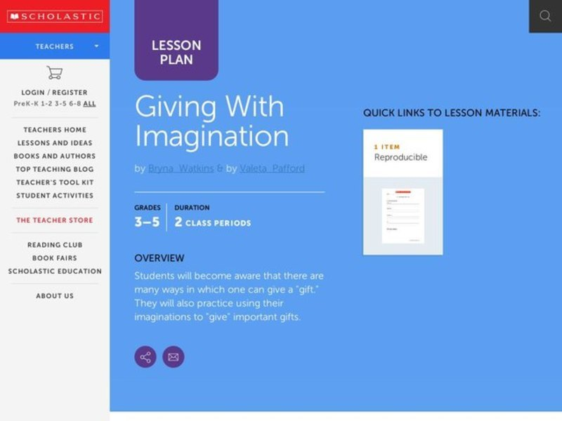 Giving with Imagination Lesson Plan