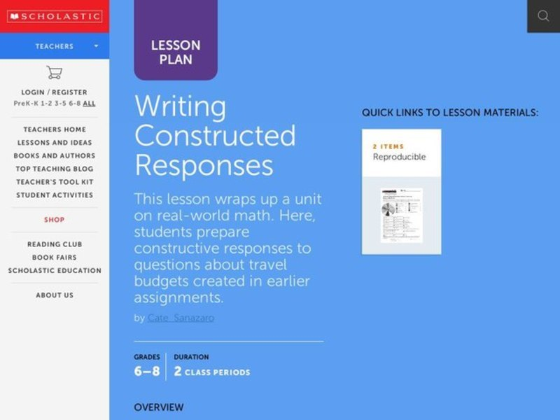 Writing Constructed Responses Lesson Plan
