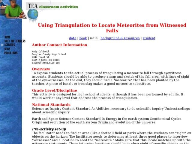 Using Triangulation to Locate Meteorites from Witnessed Falls Lesson Plan