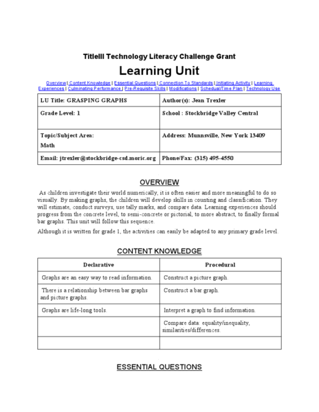 Technology Literacy Challenge Grant Learning Unit Lesson Plan