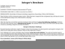Integer's Brochure Lesson Plan