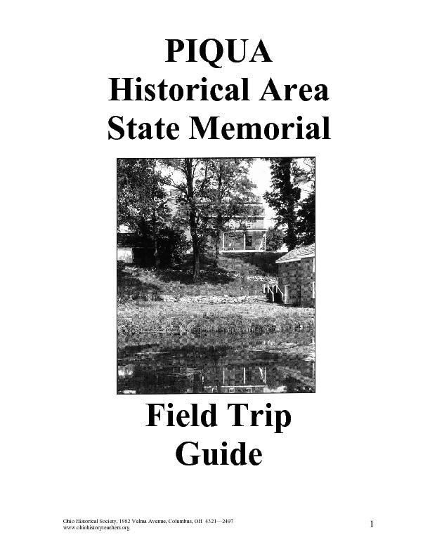 Piqua Historical Area State Memorial Lesson Plan for Pre-K
