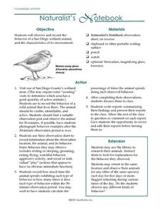 Naturalist's Notebook Lesson Plan